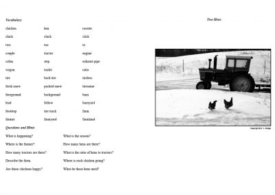 Two Hens - Assignment Sheet and Photograph - pages 52+53 from Verbalize the Visual