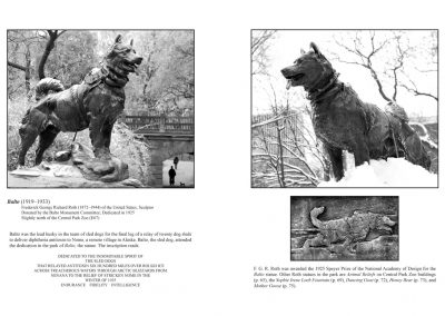Alice in Central Park - Statues in Wonderland -pages 58+59 - The statue of Balto by F.G.R. Roth honors the sled dogs who delivered diphtheria antitoxin to Nome, Alaska through Arctic blizzards in 1925.