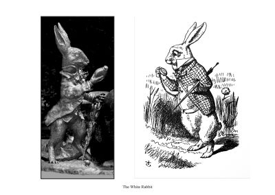 """Two Alice Statues in Central Park - page 51 - """"the Rabbit actually took a watch out of its waistcoat-pocket, and looked at it, and then hurried on."""""""
