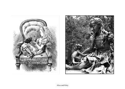 """Two Alice Statues in Central Park - page 50 - """"Oh, you wicked wicked little thing"""" cried Alice to Kitty."""