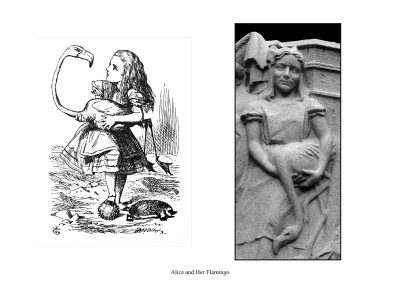 Two Alice Statues in Central Park - page 59 - Alice used her flamingo as a croquet mallet to hit the hedge-hog as a croquet ball.