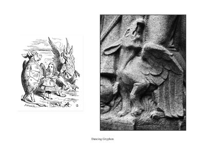 Two Alice Statues in Central Park - page 60 - The Gryphon dances the Lobster-Quadrille in a Tenniel illustration and in a Roth statue.